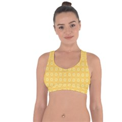 Yellow Pattern Background Texture Cross String Back Sports Bra
