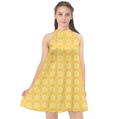 Yellow Pattern Background Texture Halter Neckline Chiffon Dress