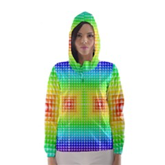 Square Rainbow Pattern Box Hooded Wind Breaker (women) by BangZart