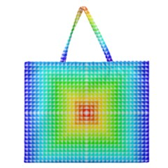 Square Rainbow Pattern Box Zipper Large Tote Bag by BangZart
