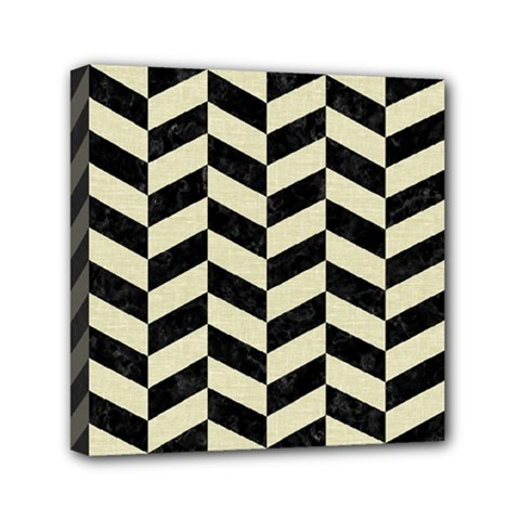 Chevron1 Black Marble & Beige Linen Mini Canvas 6  X 6  by trendistuff