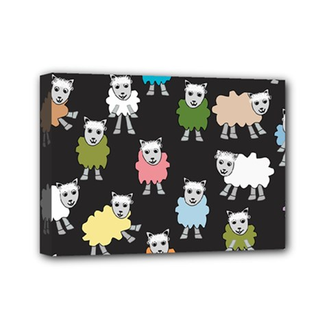 Sheep Cartoon Colorful Black Pink Mini Canvas 7  X 5  by BangZart