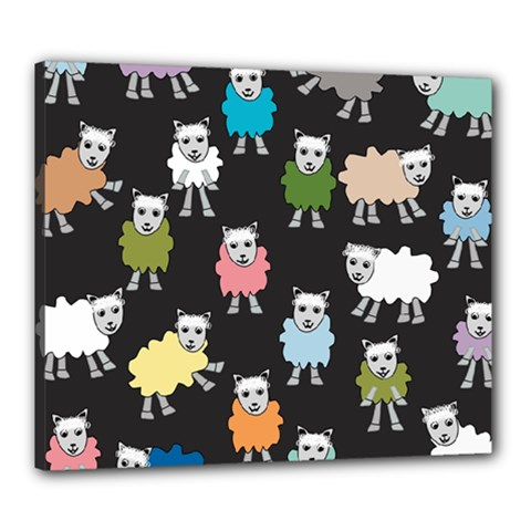 Sheep Cartoon Colorful Black Pink Canvas 24  X 20
