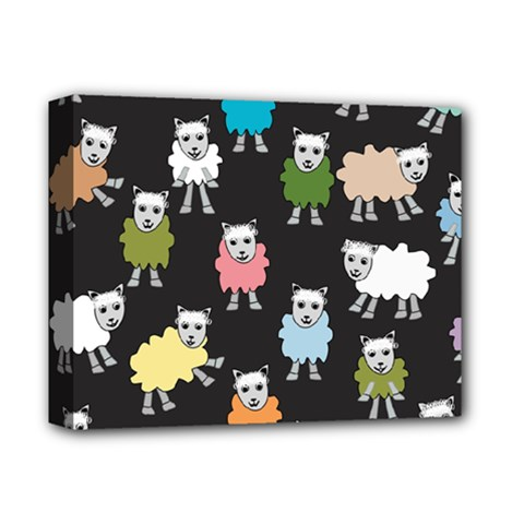 Sheep Cartoon Colorful Black Pink Deluxe Canvas 14  X 11  by BangZart