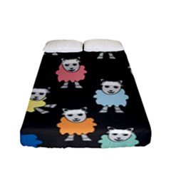 Sheep Cartoon Colorful Black Pink Fitted Sheet (full/ Double Size) by BangZart