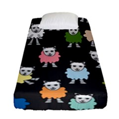 Sheep Cartoon Colorful Black Pink Fitted Sheet (single Size) by BangZart