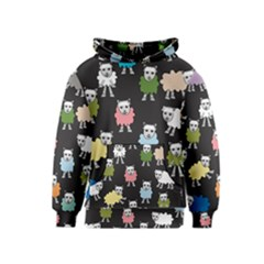 Sheep Cartoon Colorful Black Pink Kids  Pullover Hoodie by BangZart