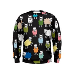 Sheep Cartoon Colorful Black Pink Kids  Sweatshirt by BangZart