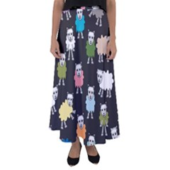 Sheep Cartoon Colorful Black Pink Flared Maxi Skirt