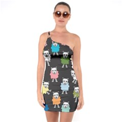 Sheep Cartoon Colorful Black Pink One Soulder Bodycon Dress