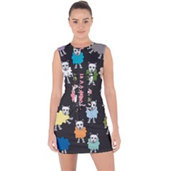 Sheep Cartoon Colorful Black Pink Lace Up Front Bodycon Dress