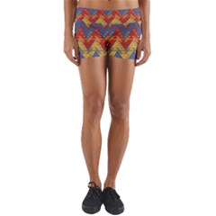 Aztec South American Pattern Zig Yoga Shorts