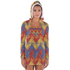 Aztec South American Pattern Zig Long Sleeve Hooded T Shirt