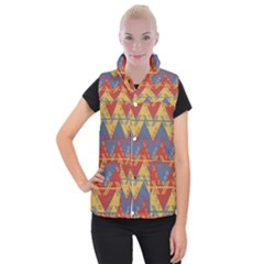 Aztec South American Pattern Zig Women s Button Up Puffer Vest