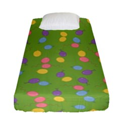 Balloon Grass Party Green Purple Fitted Sheet (single Size)