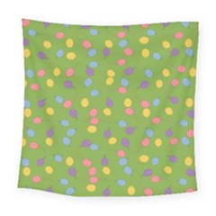 Balloon Grass Party Green Purple Square Tapestry (large)