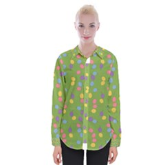 Balloon Grass Party Green Purple Womens Long Sleeve Shirt