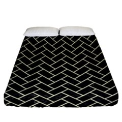 Brick2 Black Marble & Beige Linen Fitted Sheet (california King Size) by trendistuff