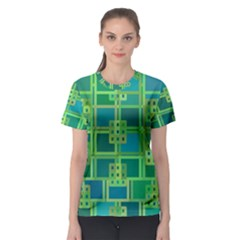 Green Abstract Geometric Women s Sport Mesh Tee