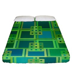 Green Abstract Geometric Fitted Sheet (queen Size) by BangZart