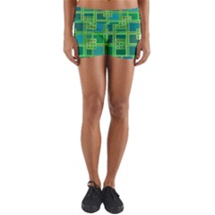 Green Abstract Geometric Yoga Shorts