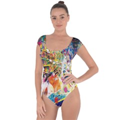 Multicolor Anime Colors Colorful Short Sleeve Leotard