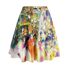 Multicolor Anime Colors Colorful High Waist Skirt