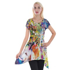 Multicolor Anime Colors Colorful Short Sleeve Side Drop Tunic