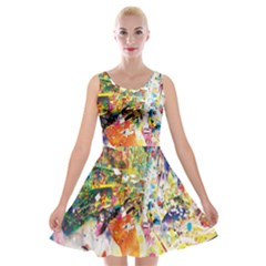 Multicolor Anime Colors Colorful Velvet Skater Dress