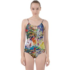 Multicolor Anime Colors Colorful Cut Out Top Tankini Set by BangZart