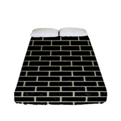 Brick1 Black Marble & Beige Linen Fitted Sheet (full/ Double Size)