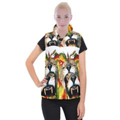 Reggae Lion Women s Button Up Puffer Vest
