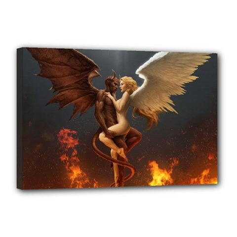 Angels Wings Curious Hell Heaven Canvas 18  X 12  by BangZart