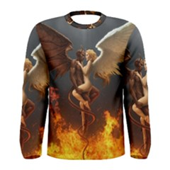Angels Wings Curious Hell Heaven Men s Long Sleeve Tee by BangZart
