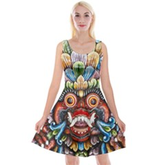 Wood Sculpture Bali Logo Reversible Velvet Sleeveless Dress
