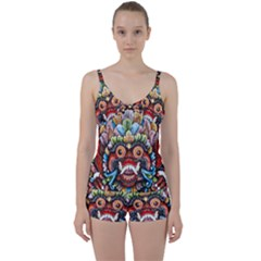 Wood Sculpture Bali Logo Tie Front Two Piece Tankini