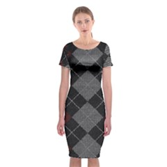 Wool Texture With Great Pattern Classic Short Sleeve Midi Dress by BangZart