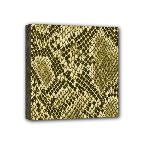 Yellow Snake Skin Pattern Mini Canvas 4  X 4  by BangZart