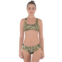 Yellow Snake Skin Pattern Criss Cross Bikini Set by BangZart