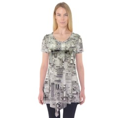 White Technology Circuit Board Electronic Computer Short Sleeve Tunic
