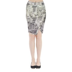 White Technology Circuit Board Electronic Computer Midi Wrap Pencil Skirt