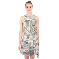 White Technology Circuit Board Electronic Computer Halter Collar Waist Tie Chiffon Dress