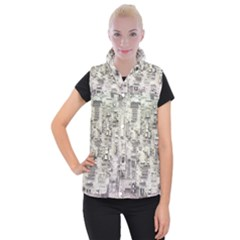 White Technology Circuit Board Electronic Computer Women s Button Up Puffer Vest