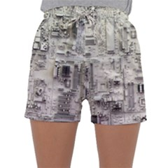 White Technology Circuit Board Electronic Computer Sleepwear Shorts