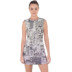 White Technology Circuit Board Electronic Computer Lace Up Front Bodycon Dress by BangZart