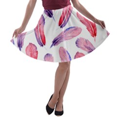 Watercolor Pattern With Feathers A Line Skater Skirt