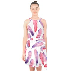 Watercolor Pattern With Feathers Halter Collar Waist Tie Chiffon Dress