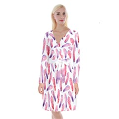 Watercolor Pattern With Feathers Long Sleeve Velvet Front Wrap Dress