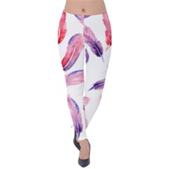 Watercolor Pattern With Feathers Velvet Leggings