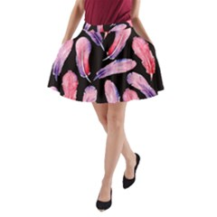 Watercolor Pattern With Feathers A Line Pocket Skirt by BangZart